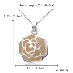 Magic Steampunk Rose Flower Glow in The Dark Pendant Necklace Womens Jewellery Gift Silver Blue light
