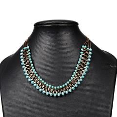 Women Boho Crystal Beaded Statement Bib Big Chunky Choker Necklace Jewelry Gift Choker
