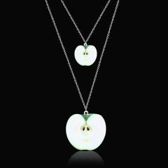 Cute Fruit Watermelon Orange Double-layered Pendant Necklace Jewelry Gift Apple