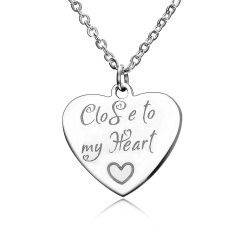 Fashion Love Smooth Stainless Steel Lettering Necklace Necklace Close to my Heart