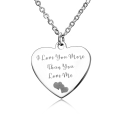 Fashion Love Smooth Stainless Steel Lettering Necklace Necklace I Love You