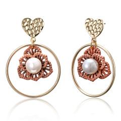 Fashion Flower Pearl Earrings Women Jewelry Flower