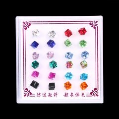 12 Pairs/Set Crystal Glass Cube Boxed Earrings Multicolor