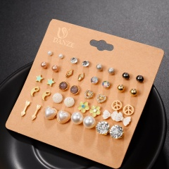 20 pairs/card pearl star bow earrings set jewelry earring set