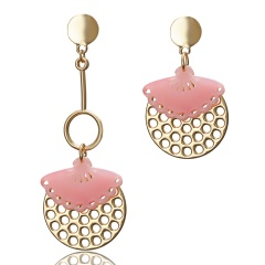 Fashion Geometric Hollow Earrings Stud Jewlry Pink