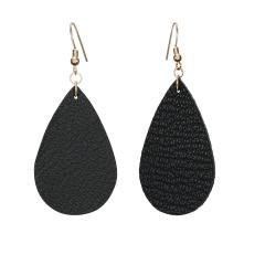 1 Pair Drop Shape Artificial Leather Earrings Black