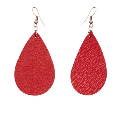 1 Pair Drop Shape Artificial Leather Earrings Red
