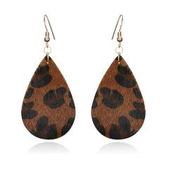 1 Pair Drop Shape Artificial Leather Earrings Leopard