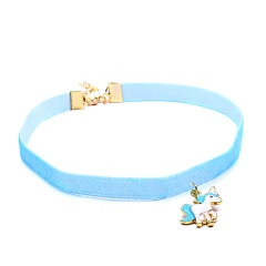 Fashion Women Animal Horse Choker Necklace Pendant Collar Velvet Jewelry Gift Blue