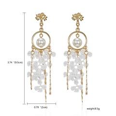 Women Jewelry Geometry Pentagram Crystal Pearl Lace Tassel Earrings Pearl