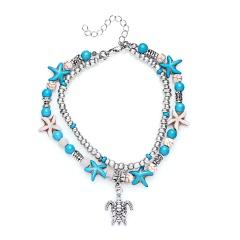 Rinhoo Bohemia Sea Turtle Starfish Charms Beach Anklet For Women Multilayer Beads Ankle Bracelet Handmade Leg bracelet Jewelry Anklet 1