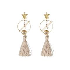 Geometric Tassel Stud Earrings Women Jewelry round