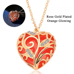 Glowing In The Dark Crystal Heart  Leave Hollow Luminous Necklace Pendant Orange 2