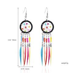 Boho Retro Tassel Hook Earrings Women Jewelry black