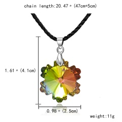 Fashion Crystal Heart Crystal Necklace Pendant Leather Jewelry Party Women Gift Snowflake