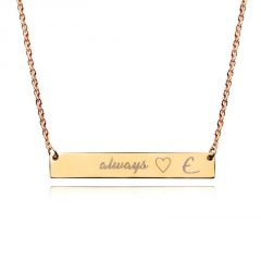 Personalized Name Bar Necklace Custom Engraved Any Name Necklace Stainless Steel E