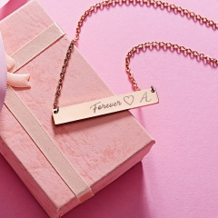 Lettering Necklace Forever Horizontal Clavicle Chain H