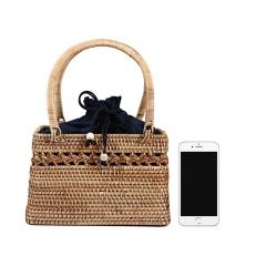 Women Summer Beach Casual Straw Wicker Bag Boho Woven Handbag Tote Shoulder Bag Wicker Bag
