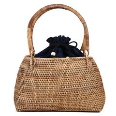 Handmade Womens Woven Rattan Straw Bag Flower Basket Storage Tote Travel Bags Wicker Bag