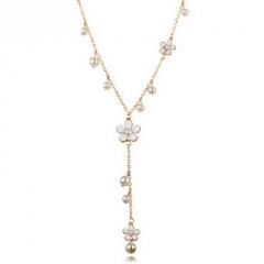 Fashion Flower Pearl Necklace Long Chain Sweater Chain Women Gift White