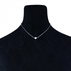 Fashion Heart Simple Clavicle Chain Short Necklace Card Neck Chain Silver