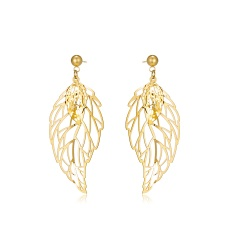 Stainless steel gold hollow double leaf earrings feather