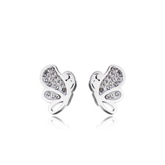 Fashion Silver Round Gold Earrings Ear Stud Butterfly