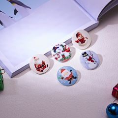 Round Christmas Print Brooch Pin 1