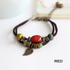 Rinhoo Bohemia Jewelry Men Bracelets Vintage Beaded Ceramic Leather Bracelet & Bangles for Women Colorful Bead Leaf Pendant Bell Bracelet  3