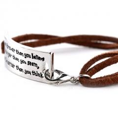 "Rinhoo ""You are Braver Than you Believe Stronger than you seem"" Inspirational Leather Bracelet Fashion Jewelry Men Bracelets Lettering"