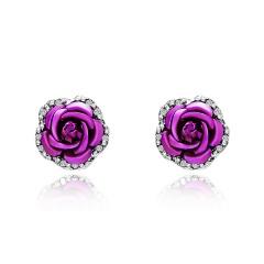1 Pair Full Diamond Crystal Rose Flower Ear Earrings Rose Red