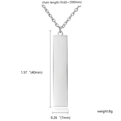 Personalized Stainless Steel Name Bar Pendant Necklace Custom Chain Jewelry Gift Rectangle Silver