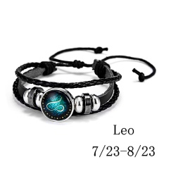 RINHOO Fashion 12 Constellations Leather Zodiac Sign Beads Bangle Bracelets For Women Men Boys Jewelry Travel Bracelets & Bangle Bracelet 5