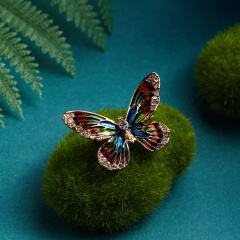 Rinhoo New Arrival Beautiful Rhinestone Fashion Enamel and Crystal Butterfly Brooches for Women Charm Colorful Dress Jewlery butterfly1