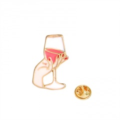 Hand-Held Red Wine Glass Alloy Painted Oil Small Brooch Badge Gold