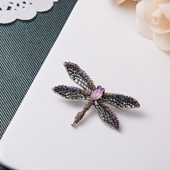 Alloy Purple Enamel Bragonfly Brooches Men And Women's Metal Rhinestone Insects Banquet Wedding Brooch Gifts animal1