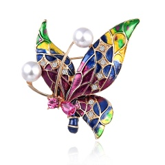 Fashion Butterfly Pearl Stained Drops Brooch Trendy Animal Alloy Rhinestone For Women Best Special Gift For Wedding Brooches butterfly4