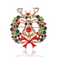 Rhinestone Reindeer Brooches Zinc Alloy Christmas Deer Pin Christmas Present Fashion Jewelry Dress Banquet Accessories Elk Wreath