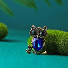 Natural animal Brooch owl Brooches For women wedding Brosh boutonniere Blue green Crystal Large Brooches For Best Gift owl1