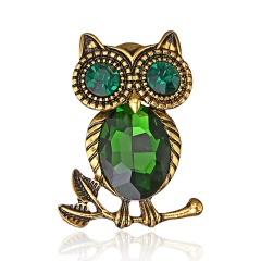 Natural animal Brooch owl Brooches For women wedding Brosh boutonniere Blue green Crystal Large Brooches For Best Gift owl2