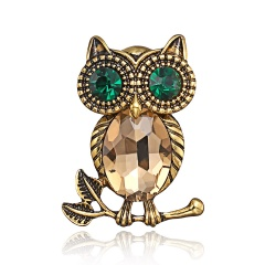 Natural animal Brooch owl Brooches For women wedding Brosh boutonniere Blue green Crystal Large Brooches For Best Gift owl3