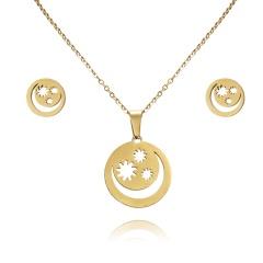 Women Heart Flower Feather Butterfly Necklace Pendant Earrings Jewelry Set moon star