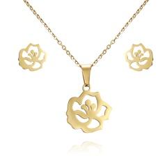 Women Heart Flower Feather Butterfly Necklace Pendant Earrings Jewelry Set flower