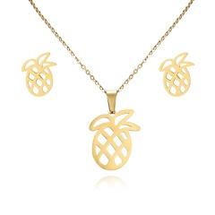 Women Heart Flower Feather Butterfly Necklace Pendant Earrings Jewelry Set pineapple