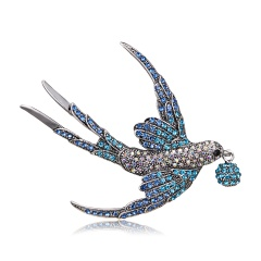 Fashion Shiny Crystal Rhinestone Animal Brooches for Women Gold Silver Color Owl Swallow Brooch Pins Factory Direct Wholesale Swallow 2