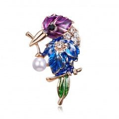 Fashion Animal Insect Brooches Colorful Couple Birds Dragonfly Turtle Crystal Rhinestone Brooch Pin for Women Lady Costume Jewelry bird 1
