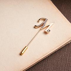 Rinhoo Letter Rhinestone Word Pin Brooch/Butterfly Rhinestone Semi-precious Stone Needle Brooch Jewelry For Women M