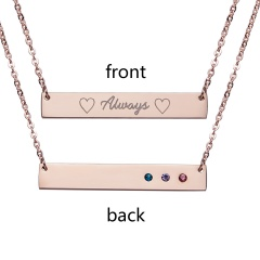 Fashion Always Lettering Horizontal Bar Necklace Personalized Rose Gold