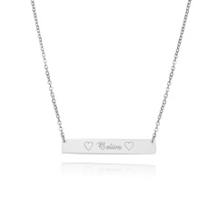 Belive Lettering Horizontal Stainless Steel Necklace Personalized Engraved Sliver