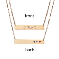 Faith Lttering Horizontal Necklace Personalized Engraved Gold